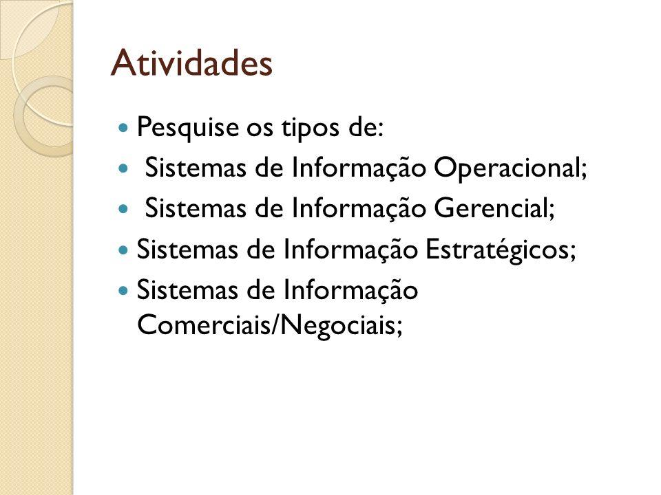 Atividades Pesquise os tipos de: Sistemas de Informação Operacional; Sistemas de Informação Gerencial; Sistemas de Informação Estratégicos; Sistemas d