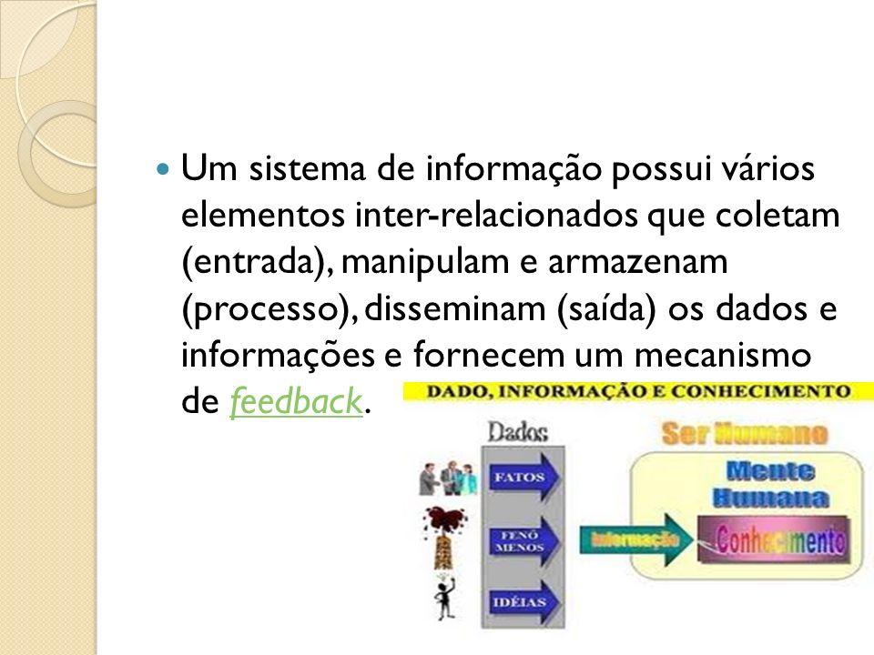 Um sistema de informação possui vários elementos inter-relacionados que coletam (entrada), manipulam e armazenam (processo), disseminam (saída) os dad