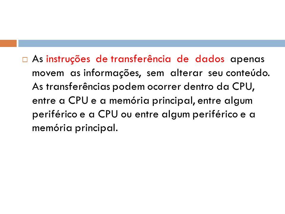 As instruções de transferência de dados apenas movem as informações, sem alterar seu conteúdo. As transferências podem ocorrer dentro da CPU, entre a