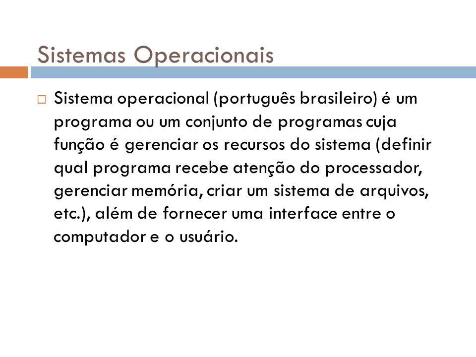 Sistemas Operacionais Sistema operacional (português brasileiro) é um programa ou um conjunto de programas cuja função é gerenciar os recursos do sist