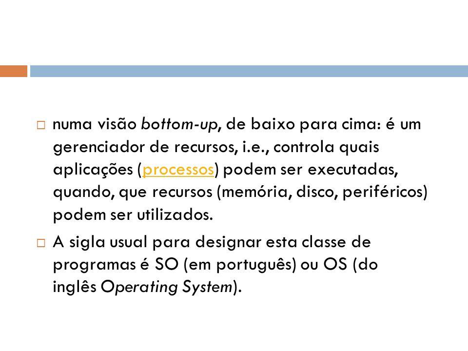 numa visão bottom-up, de baixo para cima: é um gerenciador de recursos, i.e., controla quais aplicações (processos) podem ser executadas, quando, que recursos (memória, disco, periféricos) podem ser utilizados.processos A sigla usual para designar esta classe de programas é SO (em português) ou OS (do inglês Operating System).
