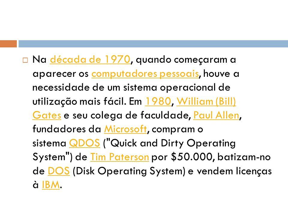 Na década de 1970, quando começaram a aparecer os computadores pessoais, houve a necessidade de um sistema operacional de utilização mais fácil. Em 19