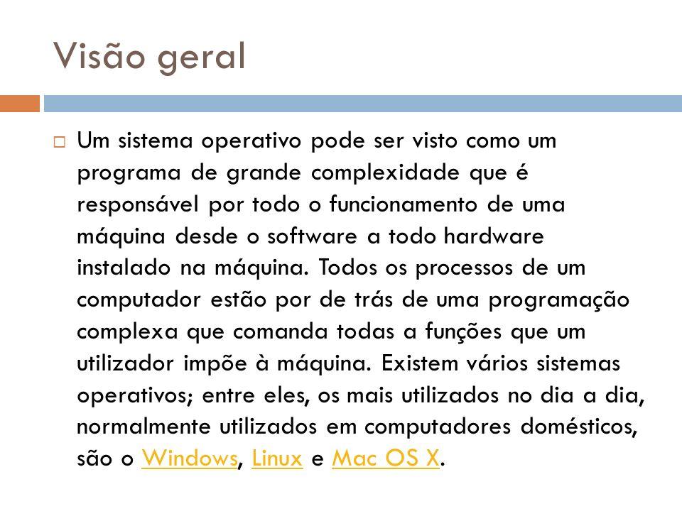Visão geral Um sistema operativo pode ser visto como um programa de grande complexidade que é responsável por todo o funcionamento de uma máquina desde o software a todo hardware instalado na máquina.