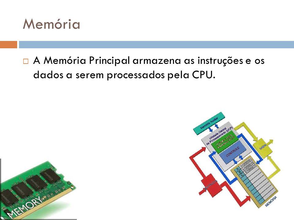Memória A Memória Principal armazena as instruções e os dados a serem processados pela CPU.