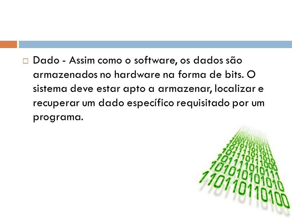 Dado - Assim como o software, os dados são armazenados no hardware na forma de bits. O sistema deve estar apto a armazenar, localizar e recuperar um d