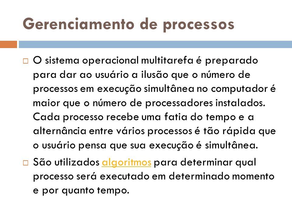 Gerenciamento de processos O sistema operacional multitarefa é preparado para dar ao usuário a ilusão que o número de processos em execução simultânea