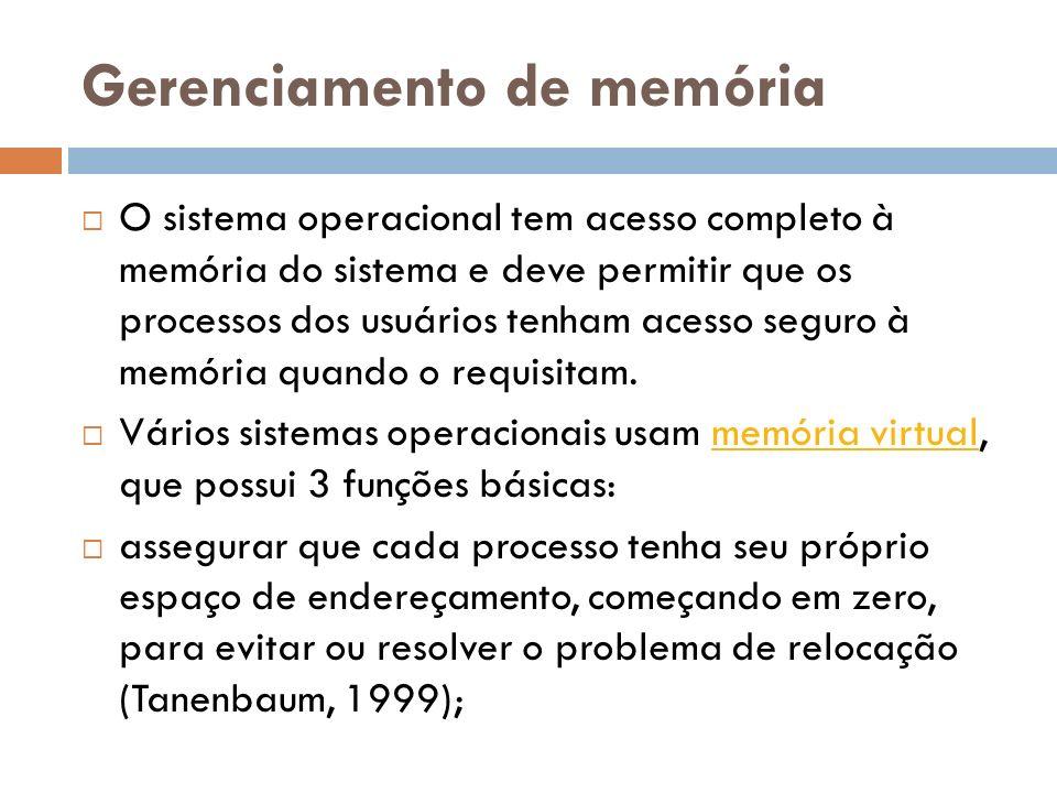 Gerenciamento de memória O sistema operacional tem acesso completo à memória do sistema e deve permitir que os processos dos usuários tenham acesso se