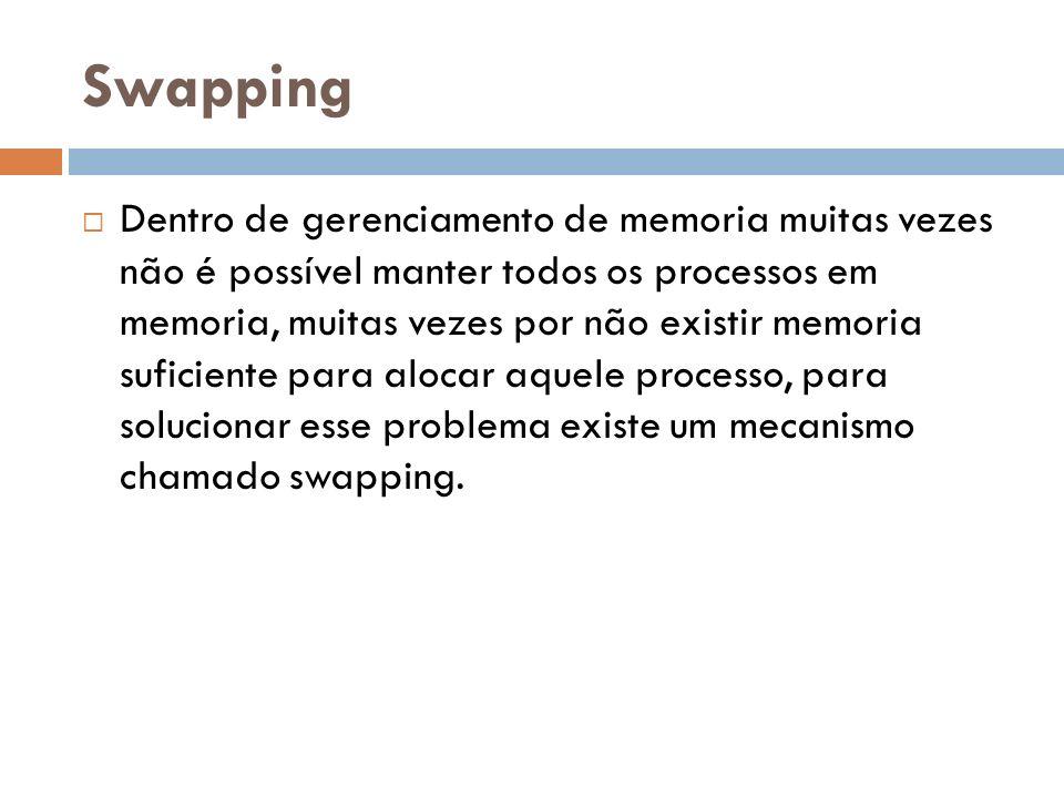 Swapping Dentro de gerenciamento de memoria muitas vezes não é possível manter todos os processos em memoria, muitas vezes por não existir memoria suficiente para alocar aquele processo, para solucionar esse problema existe um mecanismo chamado swapping.
