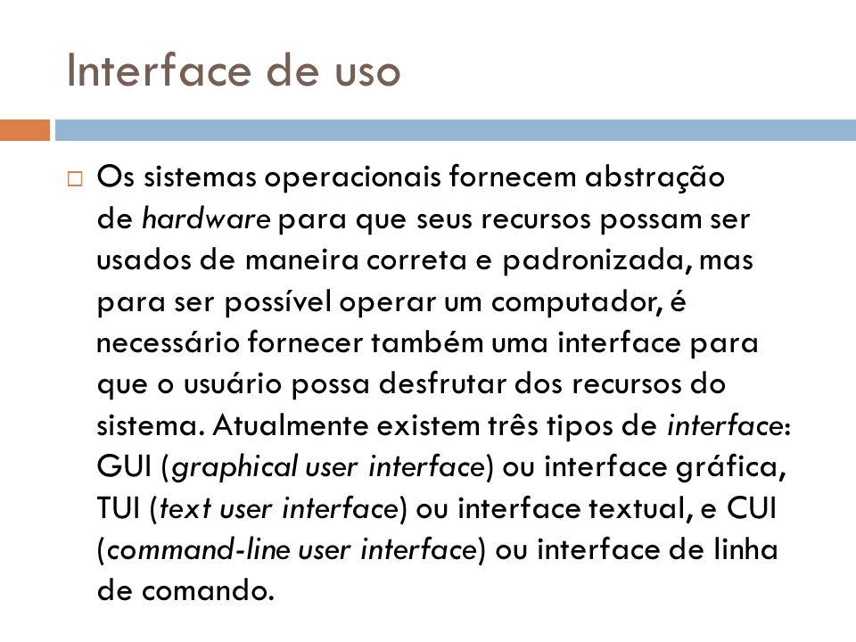 Interface de uso Os sistemas operacionais fornecem abstração de hardware para que seus recursos possam ser usados de maneira correta e padronizada, ma