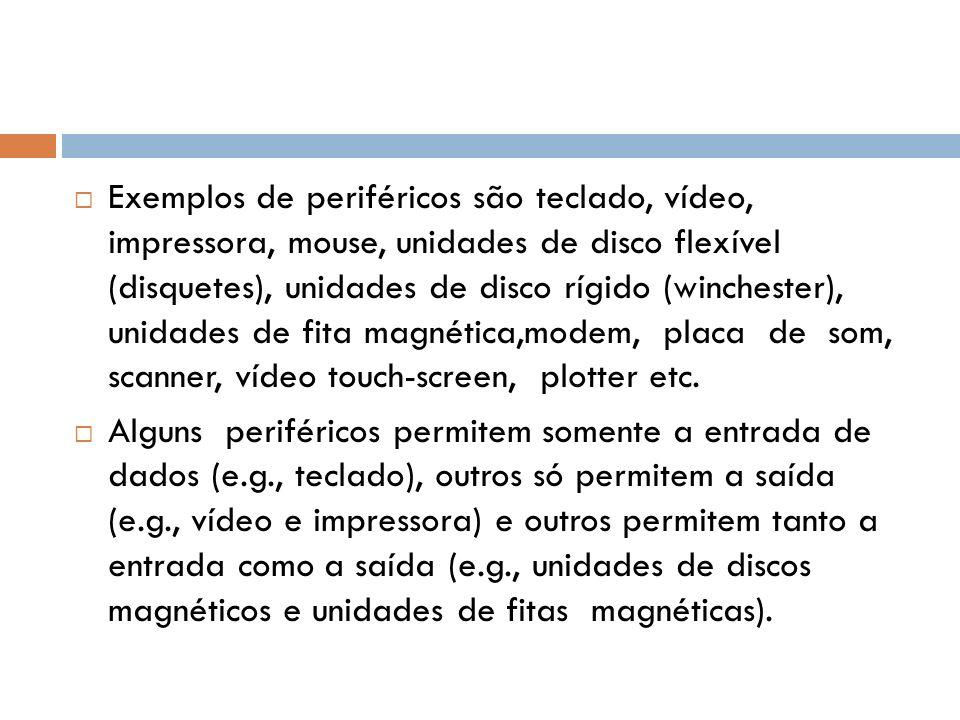 Exemplos de periféricos são teclado, vídeo, impressora, mouse, unidades de disco flexível (disquetes), unidades de disco rígido (winchester), unidades