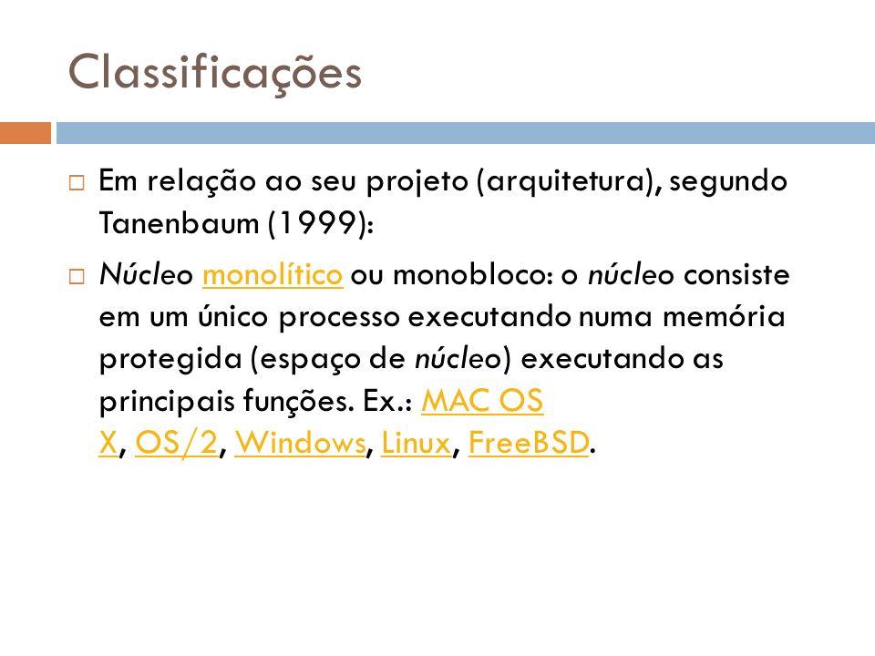 Classificações Em relação ao seu projeto (arquitetura), segundo Tanenbaum (1999): Núcleo monolítico ou monobloco: o núcleo consiste em um único proces