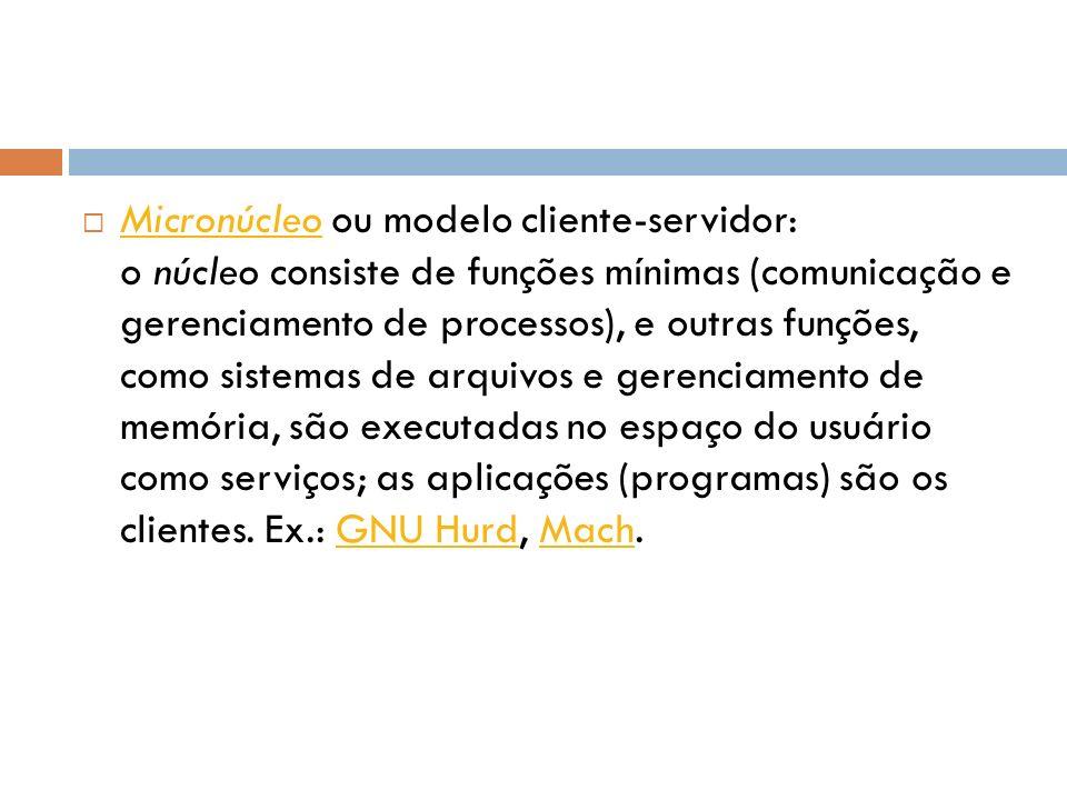 Micronúcleo ou modelo cliente-servidor: o núcleo consiste de funções mínimas (comunicação e gerenciamento de processos), e outras funções, como sistemas de arquivos e gerenciamento de memória, são executadas no espaço do usuário como serviços; as aplicações (programas) são os clientes.