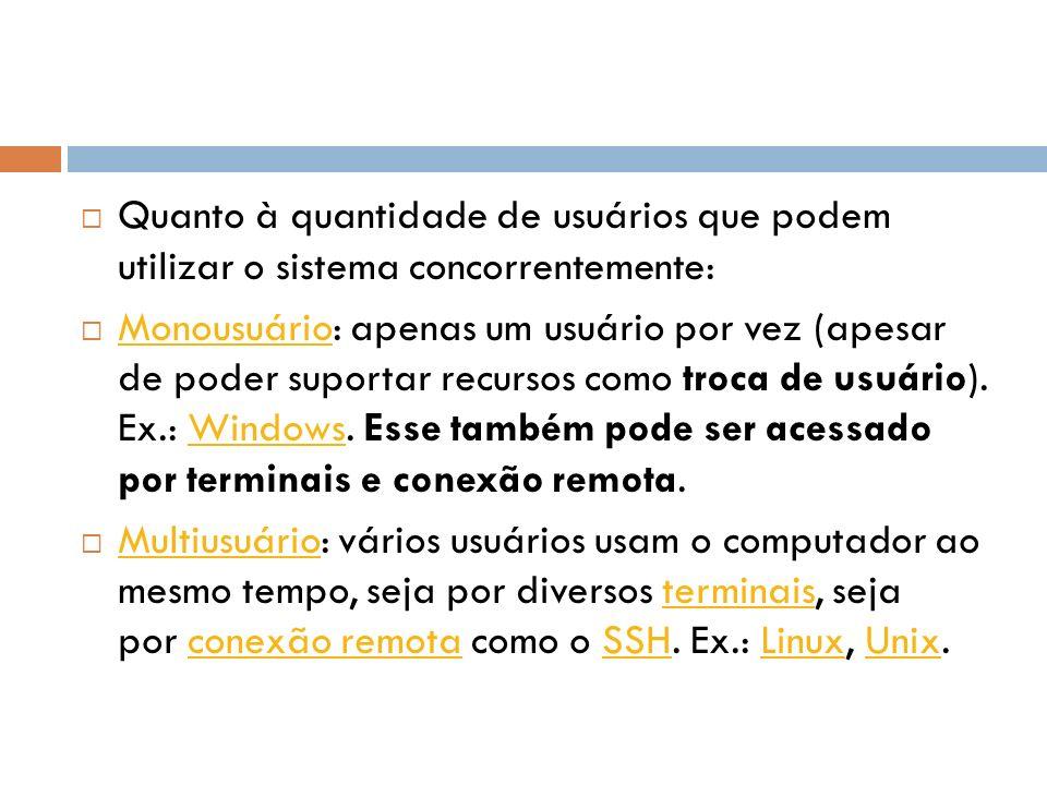 Quanto à quantidade de usuários que podem utilizar o sistema concorrentemente: Monousuário: apenas um usuário por vez (apesar de poder suportar recurs