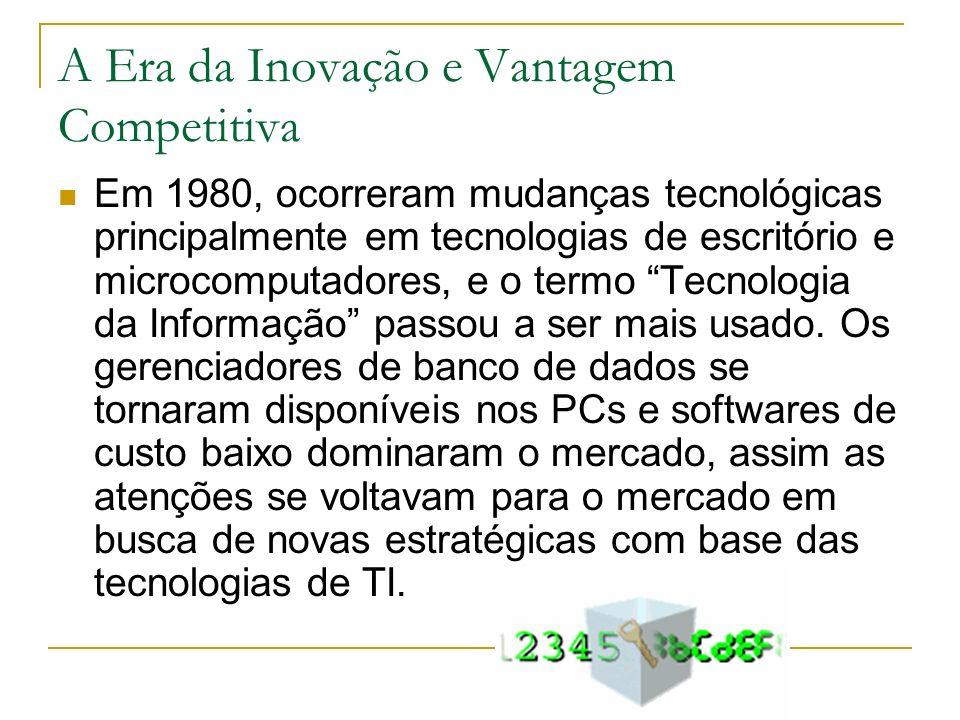 A Era da Inovação e Vantagem Competitiva Em 1980, ocorreram mudanças tecnológicas principalmente em tecnologias de escritório e microcomputadores, e o