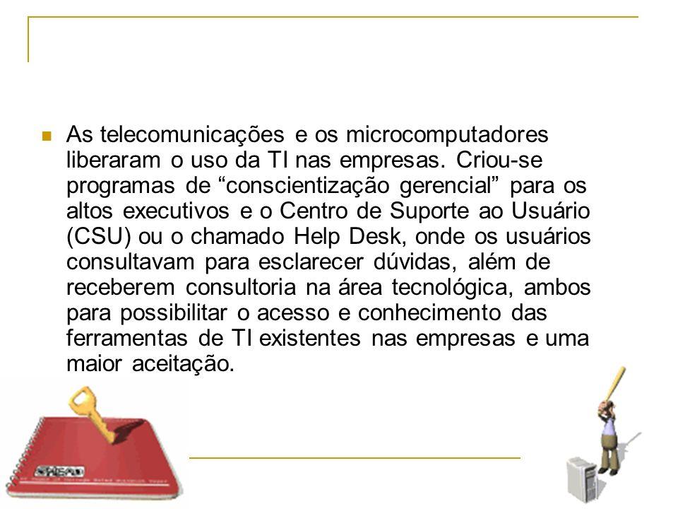 As telecomunicações e os microcomputadores liberaram o uso da TI nas empresas. Criou-se programas de conscientização gerencial para os altos executivo