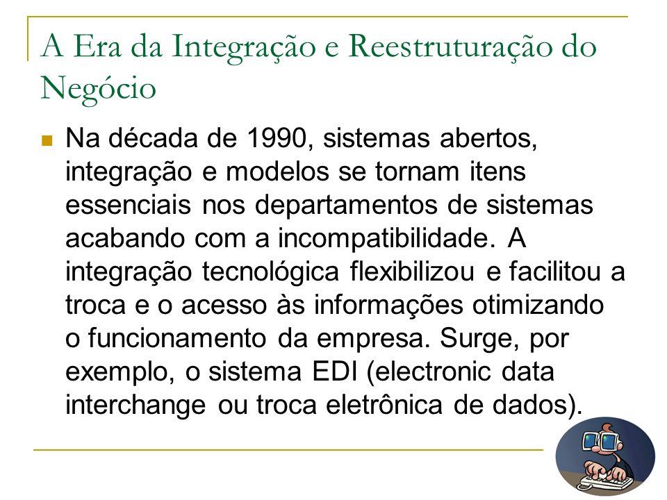 A Era da Integração e Reestruturação do Negócio Na década de 1990, sistemas abertos, integração e modelos se tornam itens essenciais nos departamentos