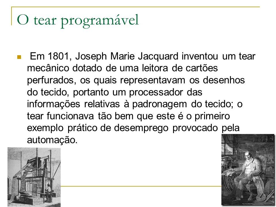O tear programável Em 1801, Joseph Marie Jacquard inventou um tear mecânico dotado de uma leitora de cartões perfurados, os quais representavam os des