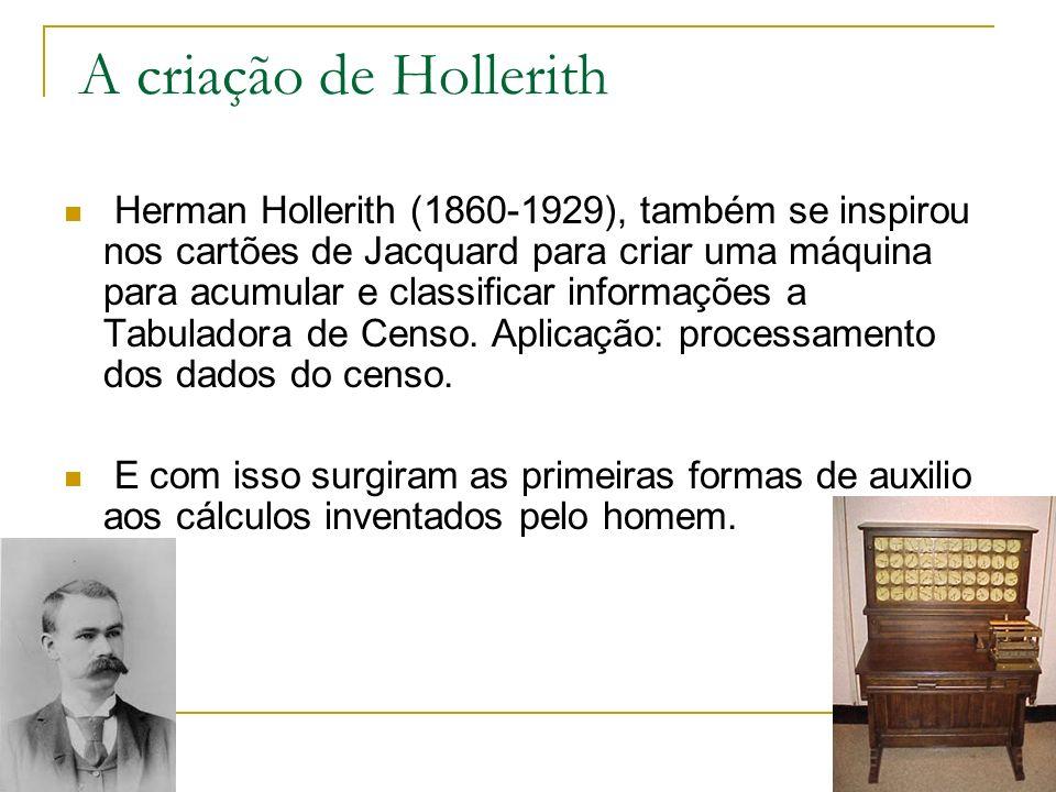 A criação de Hollerith Herman Hollerith (1860-1929), também se inspirou nos cartões de Jacquard para criar uma máquina para acumular e classificar inf