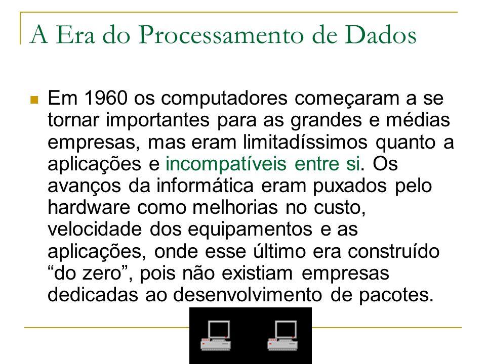 A Era do Processamento de Dados Em 1960 os computadores começaram a se tornar importantes para as grandes e médias empresas, mas eram limitadíssimos q