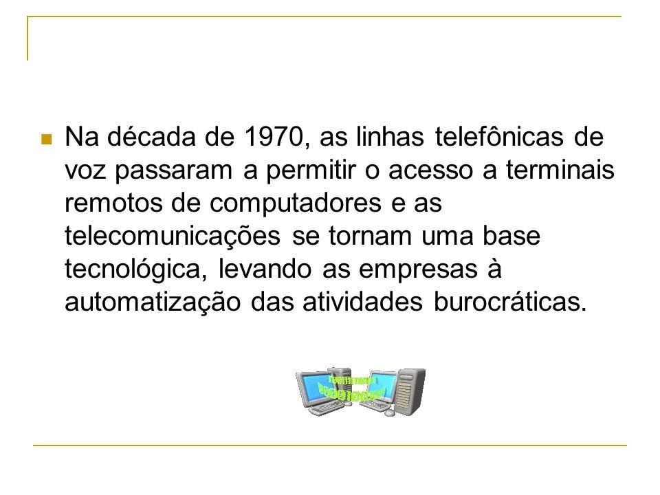 Na década de 1970, as linhas telefônicas de voz passaram a permitir o acesso a terminais remotos de computadores e as telecomunicações se tornam uma b