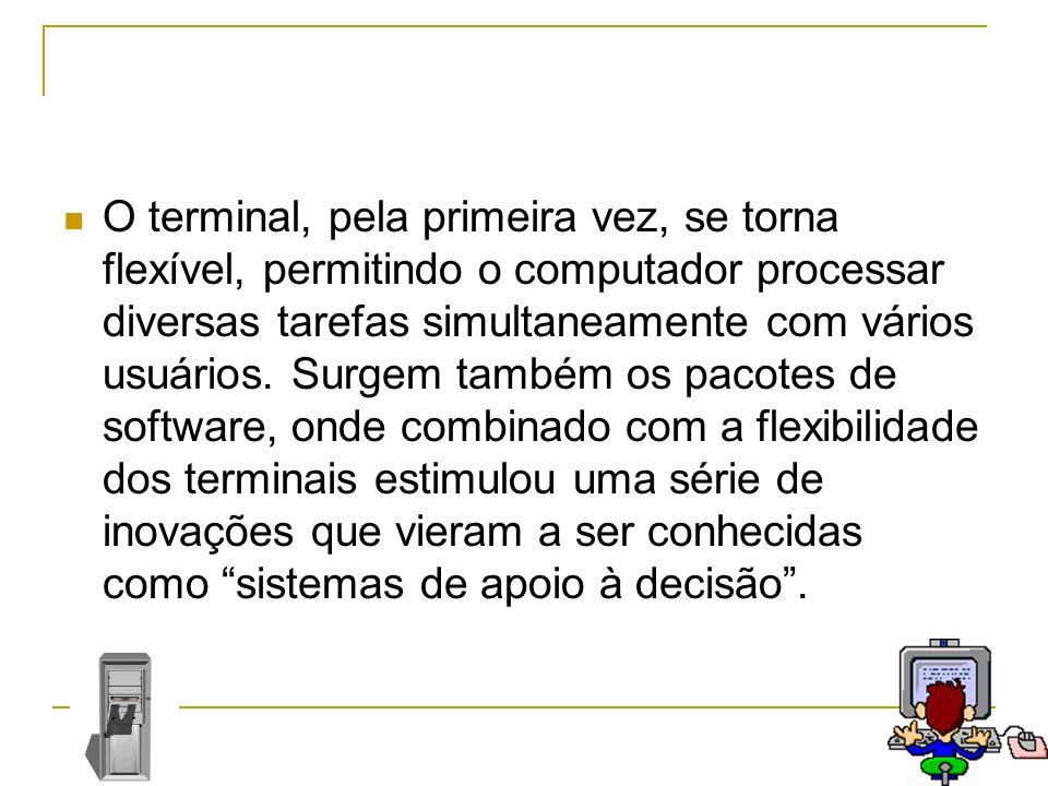 O terminal, pela primeira vez, se torna flexível, permitindo o computador processar diversas tarefas simultaneamente com vários usuários. Surgem també
