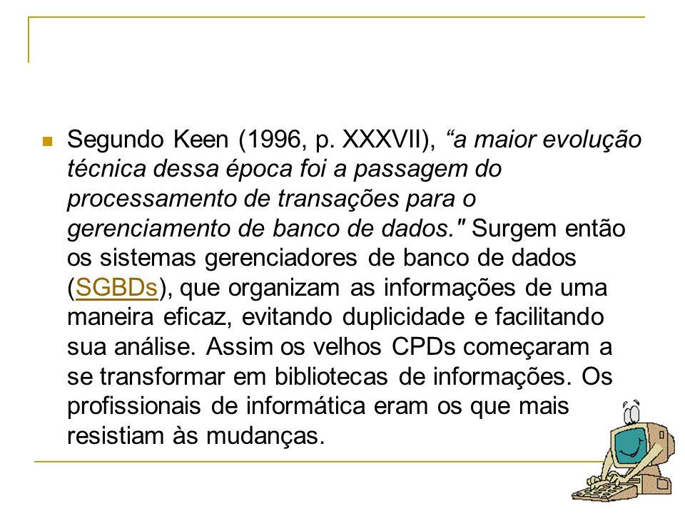 Segundo Keen (1996, p. XXXVII), a maior evolução técnica dessa época foi a passagem do processamento de transações para o gerenciamento de banco de da