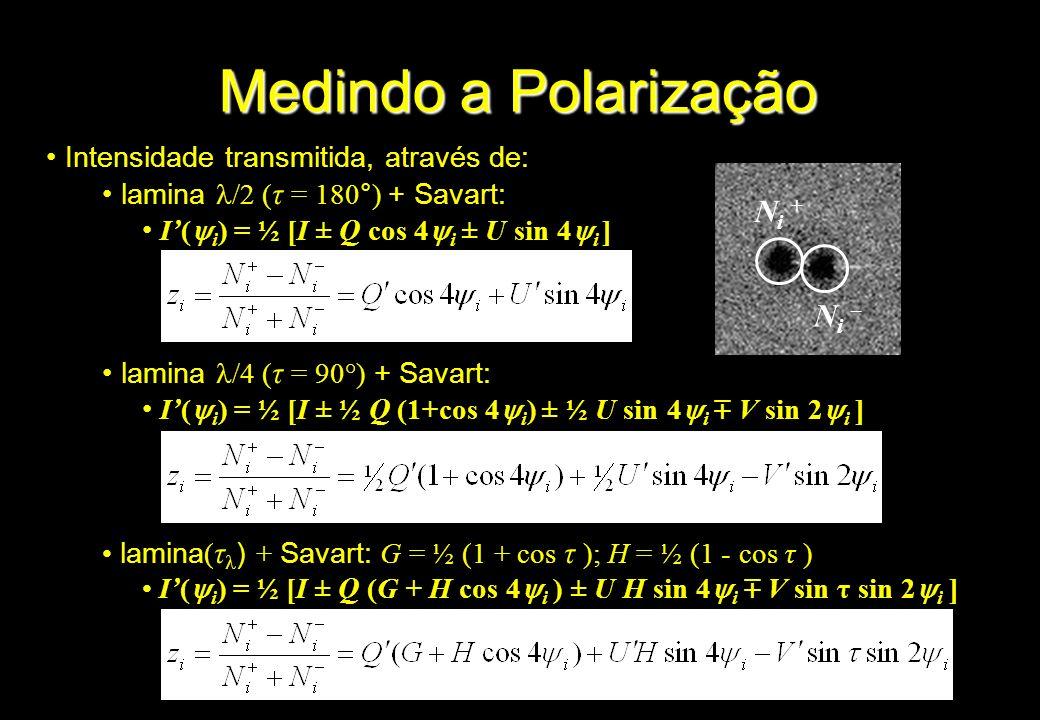 Intensidade transmitida, através de: lamina /2 ( τ = 180°) + Savart: I( i ) = ½ [I ± Q cos 4 i ± U sin 4 i ] lamina /4 ( τ = 90°) + Savart: I( i ) = ½