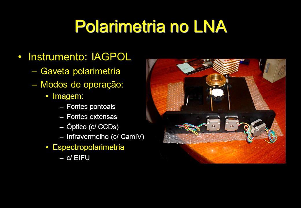 Polarimetria no LNA Instrumento: IAGPOL –Gaveta polarimetria –Modos de operação: Imagem: –Fontes pontoais –Fontes extensas –Óptico (c/ CCDs) –Infraver