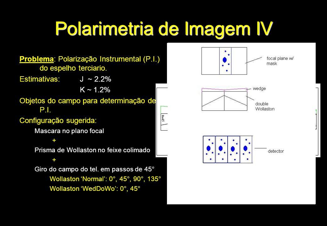 Polarimetria de Imagem IV Problema: Polarização Instrumental (P.I.) do espelho terciario. Estimativas:J ~ 2.2% K ~ 1.2% Objetos do campo para determin