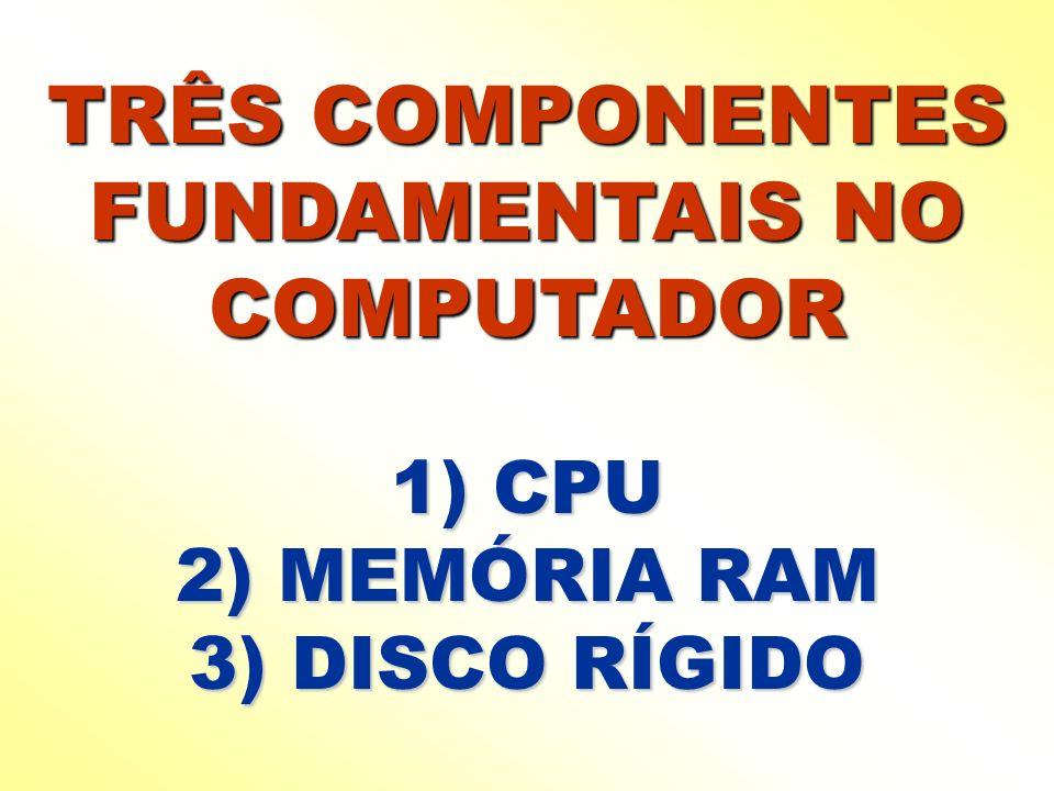 TRÊS COMPONENTES FUNDAMENTAIS NO COMPUTADOR 1) CPU 2) MEMÓRIA RAM 3) DISCO RÍGIDO