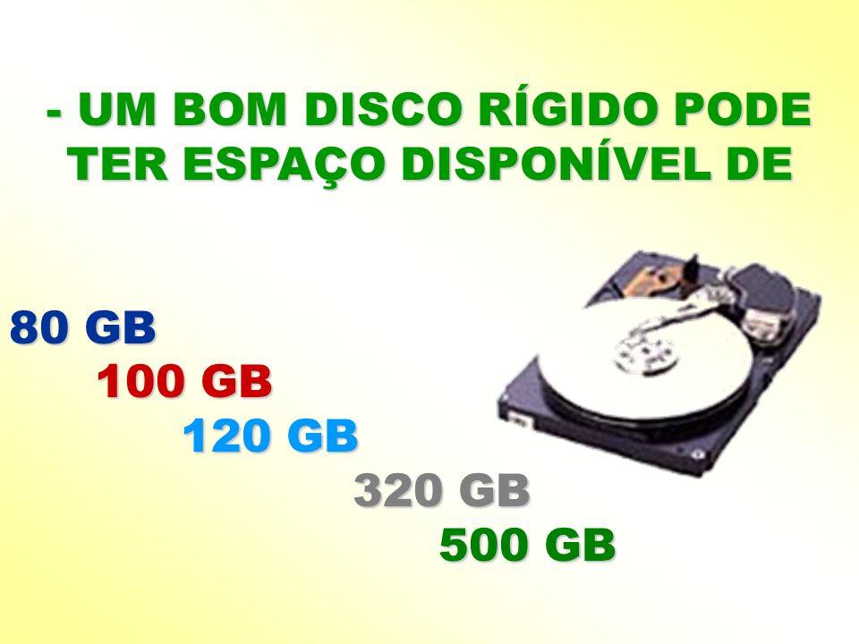 - UM BOM DISCO RÍGIDO PODE TER ESPAÇO DISPONÍVEL DE 80 GB 100 GB 120 GB 320 GB 500 GB