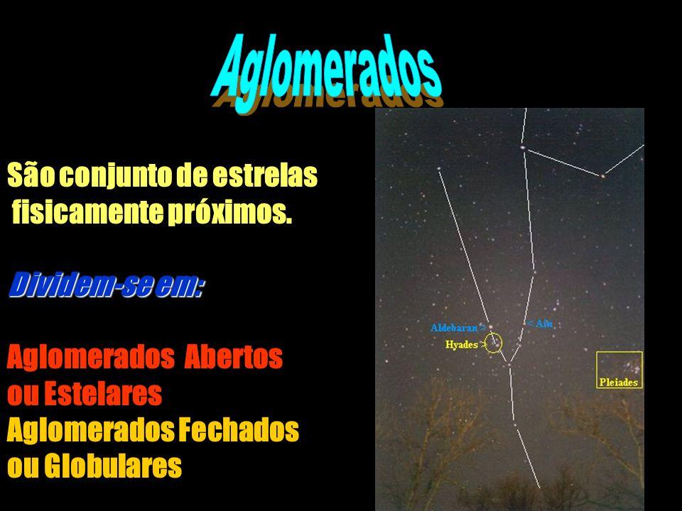 São conjunto de estrelas fisicamente próximos. Dividem-se em: Aglomerados Abertos ou Estelares Aglomerados Fechados ou Globulares