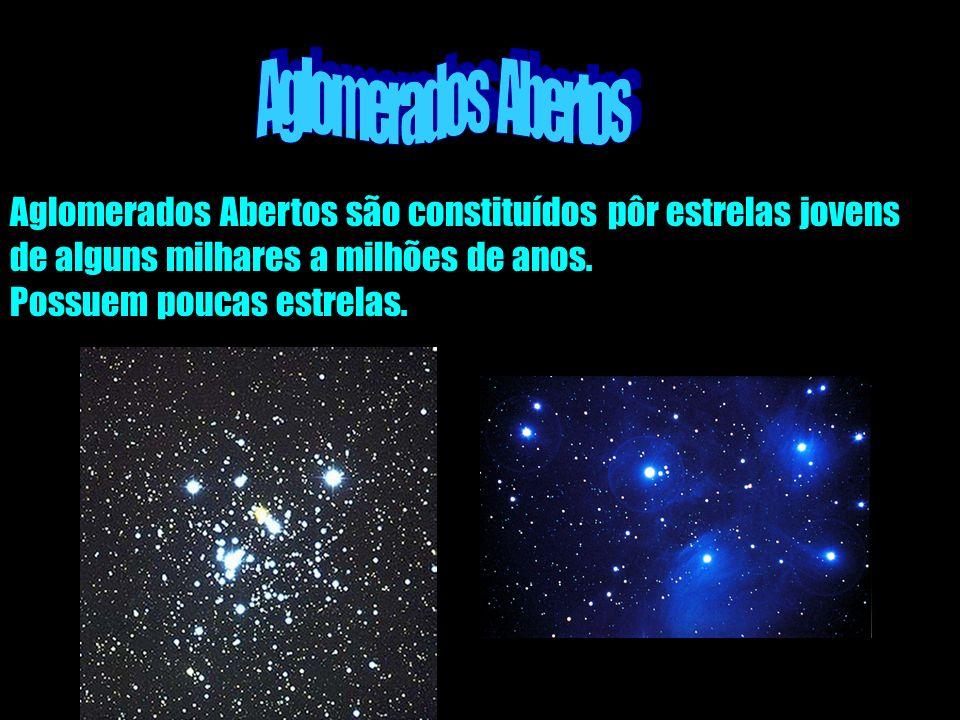 Aglomerados Abertos são constituídos pôr estrelas jovens de alguns milhares a milhões de anos. Possuem poucas estrelas.