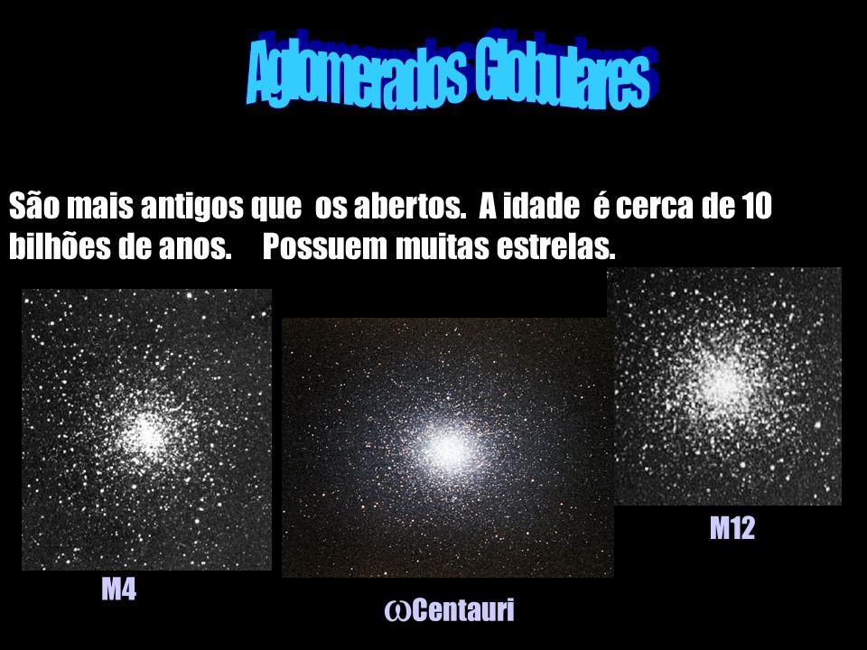 São mais antigos que os abertos. A idade é cerca de 10 bilhões de anos. Possuem muitas estrelas. M4 Centauri M12