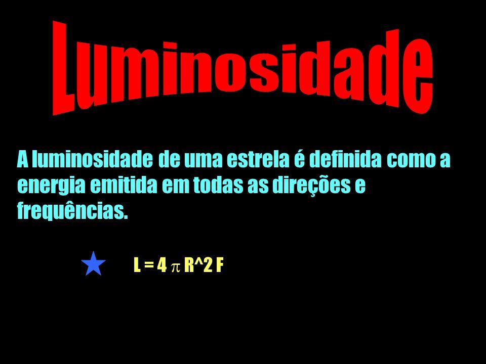 A luminosidade de uma estrela é definida como a energia emitida em todas as direções e frequências. L = 4 R^2 F