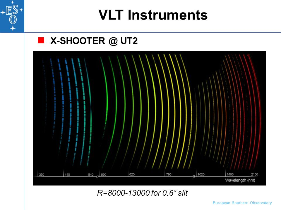 European Southern Observatory X-SHOOTER @ UT2 VLT Instruments R=8000-13000 for 0.6 slit