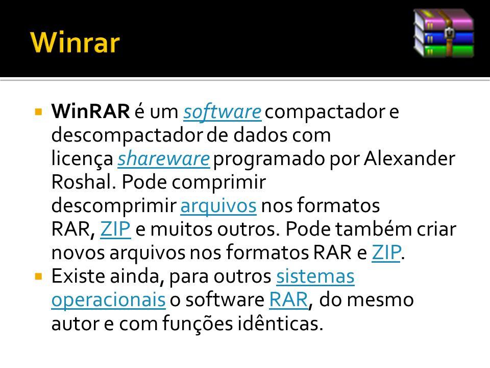 WinRAR é um software compactador e descompactador de dados com licença shareware programado por Alexander Roshal. Pode comprimir descomprimir arquivos