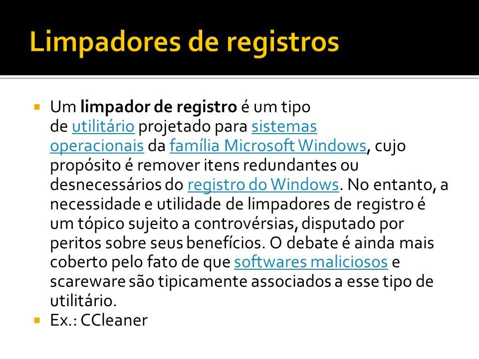 Um limpador de registro é um tipo de utilitário projetado para sistemas operacionais da família Microsoft Windows, cujo propósito é remover itens redu