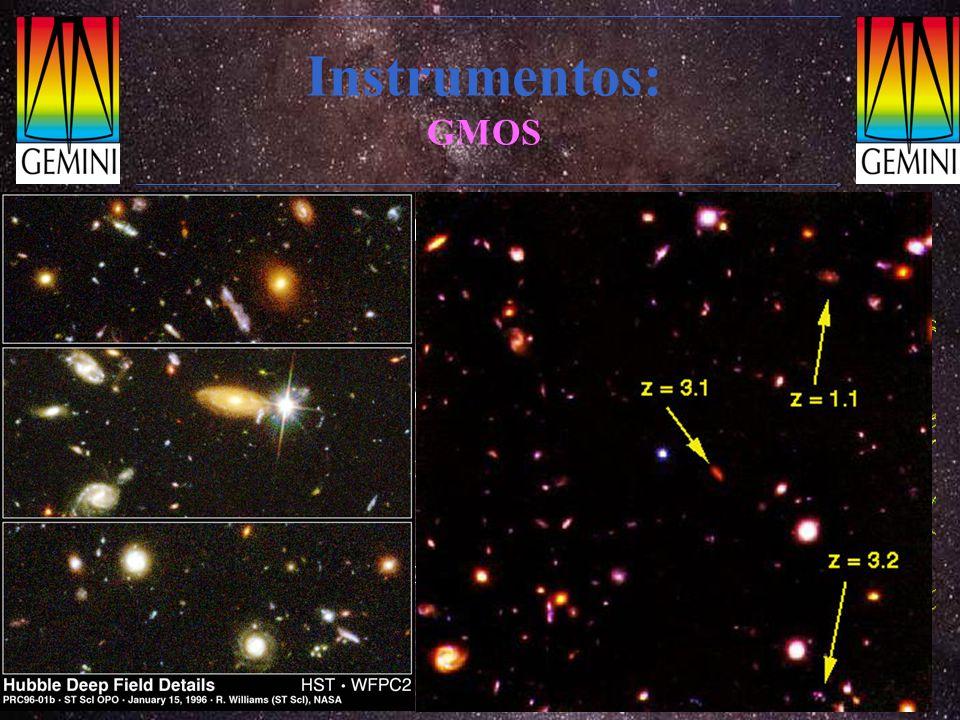 Instrumentos: GMOS Espectrógrafo multi-objeto Faixa espectral: óptica 0.36-1.10 µm Resolução: R=500 - 10 000 Máscara de fendas: centenas de objetos de