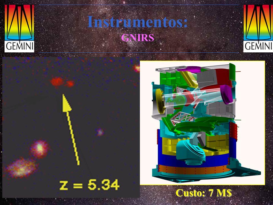 Instrumentos: GNIRS Espectrógrafo e polarímetro multi-objeto no I.V. próximo Faixa espectral: 0.9-5.5 µm Resolução: R~2000, 5400, 18000 Especial para
