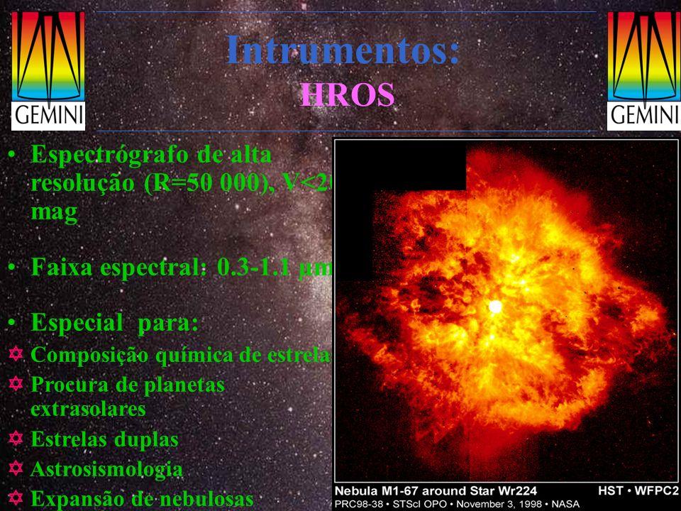 Intrumentos: HROS Espectrógrafo de alta resolução (R=50 000), V<20 mag Faixa espectral: 0.3-1.1 µm Especial para: Composição química de estrelas Procu