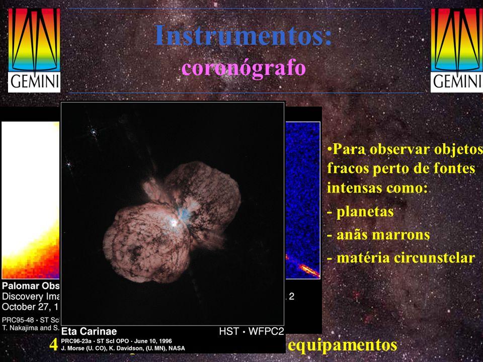 Instrumentos: coronógrafo Para observar objetos fracos perto de fontes intensas como: - planetas - anãs marrons - matéria circunstelar 4 M$/ano para c