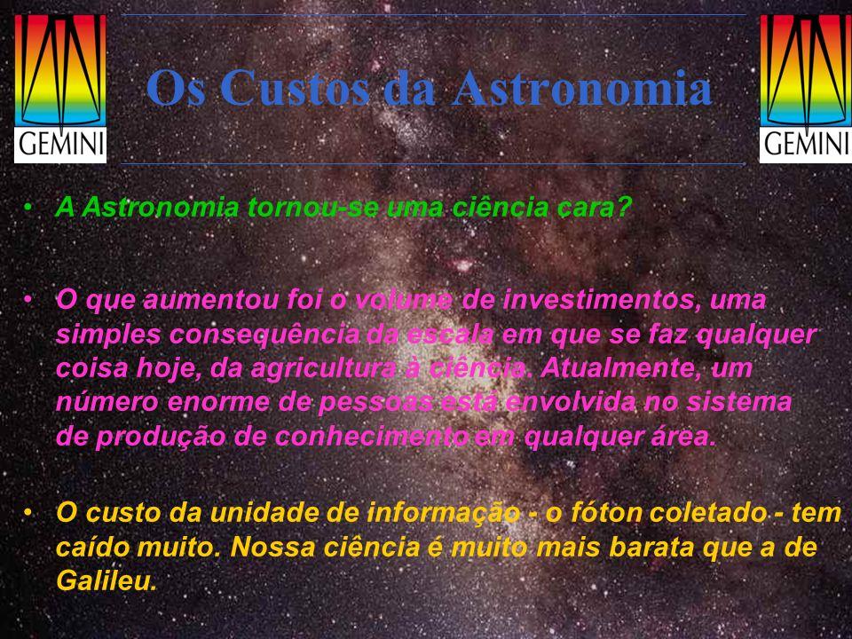 Instrumentos: NIRI ( o primeiro a entrar em operação) Exemplos: Região de formação estelar NGC3576 (bandas JHK) distância: 4 kpc do Sol obscurecimento Av~20mag Num telescópio de 4m (Blanco) só se pode obter o espectro das 5 estrelas mais brilhantes (R=1000) Roda de filtros Óptica de reimageamneto Feixe de entrada Roda para WFS Custo: 4 M$ Meteorologia de outros planetas (Netuno na tela) Imageador, espectrógrafo e coronógrafo no infravermelho próximo: 1-5.5 µm Qualidade de imagem igual a do Hubble Especial para objetos avermelhados por poeira ou pela expansão cósmica