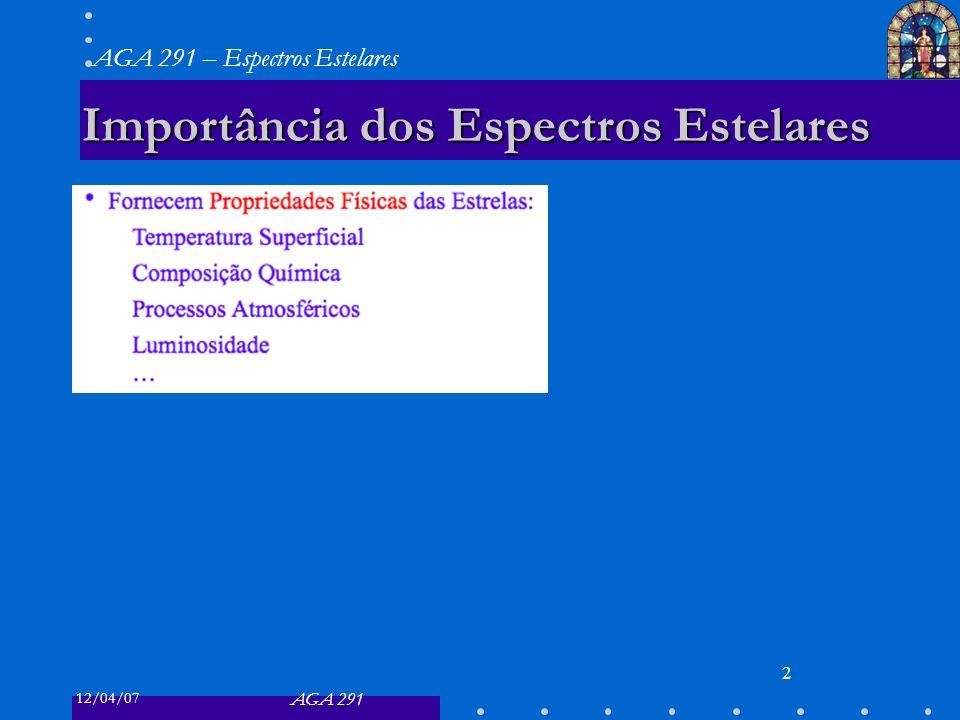 12/04/07 AGA 291 AGA 291 – Espectros Estelares 2 Importância dos Espectros Estelares