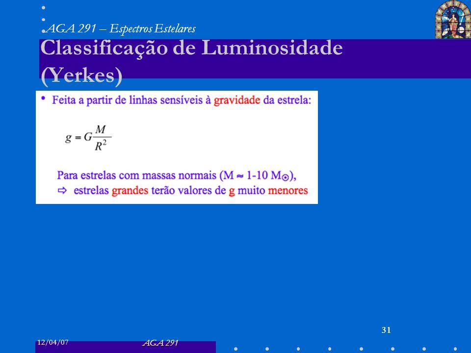 12/04/07 AGA 291 AGA 291 – Espectros Estelares 31 Classificação de Luminosidade (Yerkes) 31