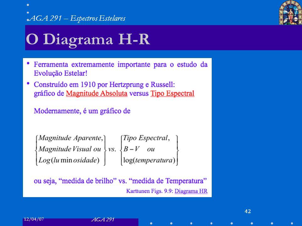12/04/07 AGA 291 AGA 291 – Espectros Estelares 42 O Diagrama H-R 42