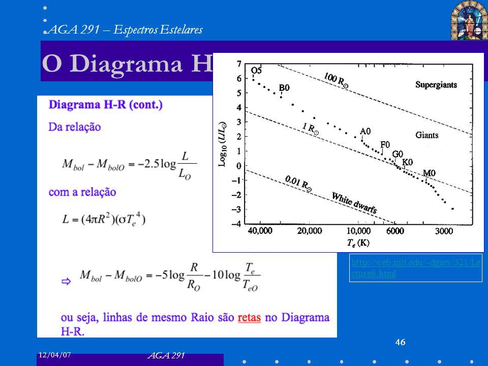 12/04/07 AGA 291 AGA 291 – Espectros Estelares 46 O Diagrama H-R 46 http://web.njit.edu/~dgary/321/Le cture6.html