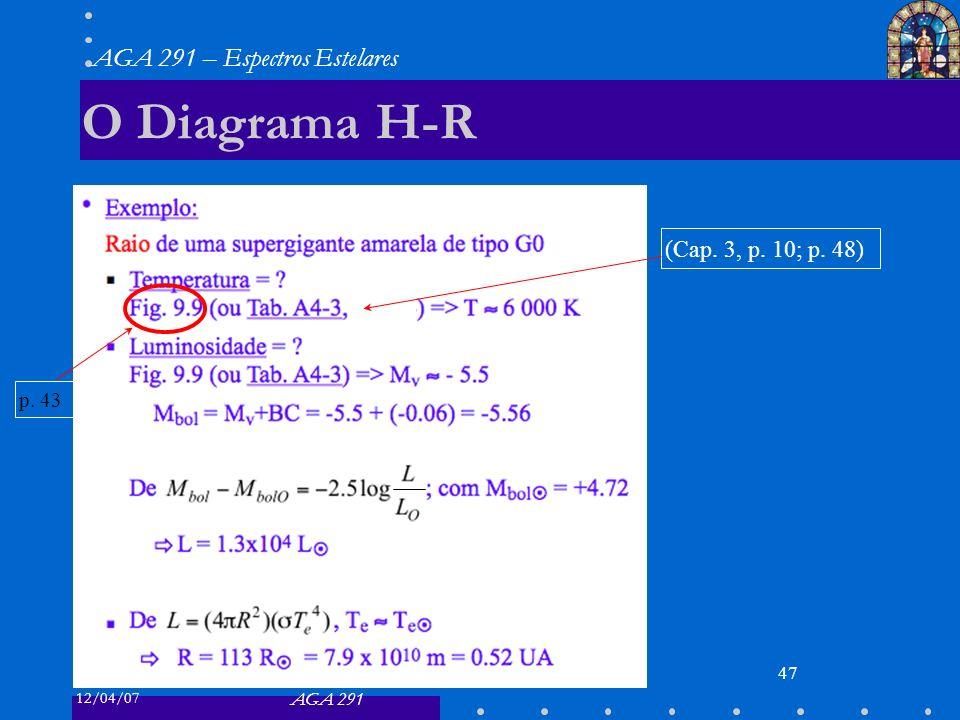 12/04/07 AGA 291 AGA 291 – Espectros Estelares 47 O Diagrama H-R (Cap. 3, p. 10; p. 48) p. 43