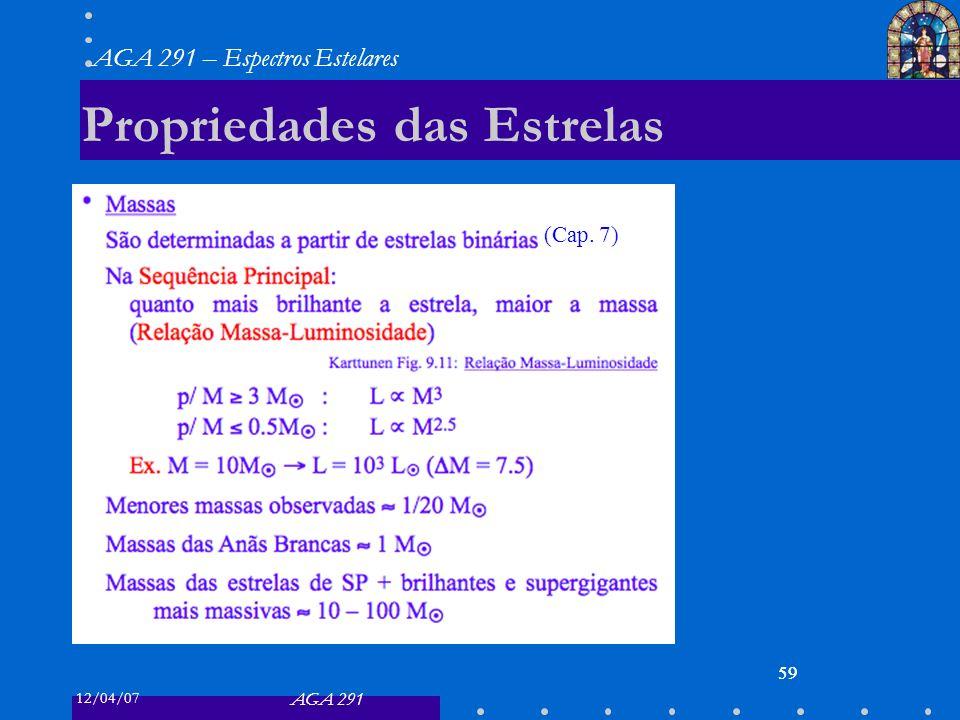 12/04/07 AGA 291 AGA 291 – Espectros Estelares 59 Propriedades das Estrelas 59 (Cap. 7)