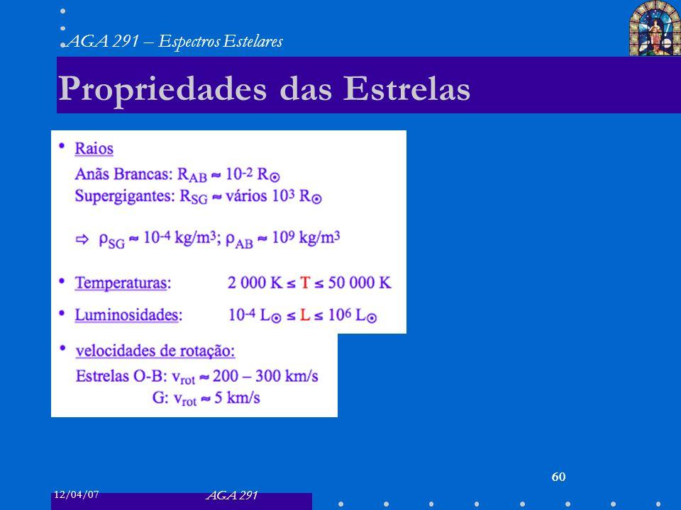 12/04/07 AGA 291 AGA 291 – Espectros Estelares 60 Propriedades das Estrelas 60